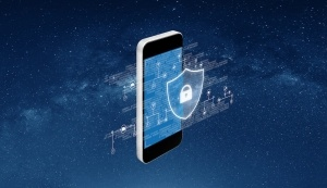 A mobile phone in space overlaid with network diagrams and a padlock inside a shield showing how secure it is