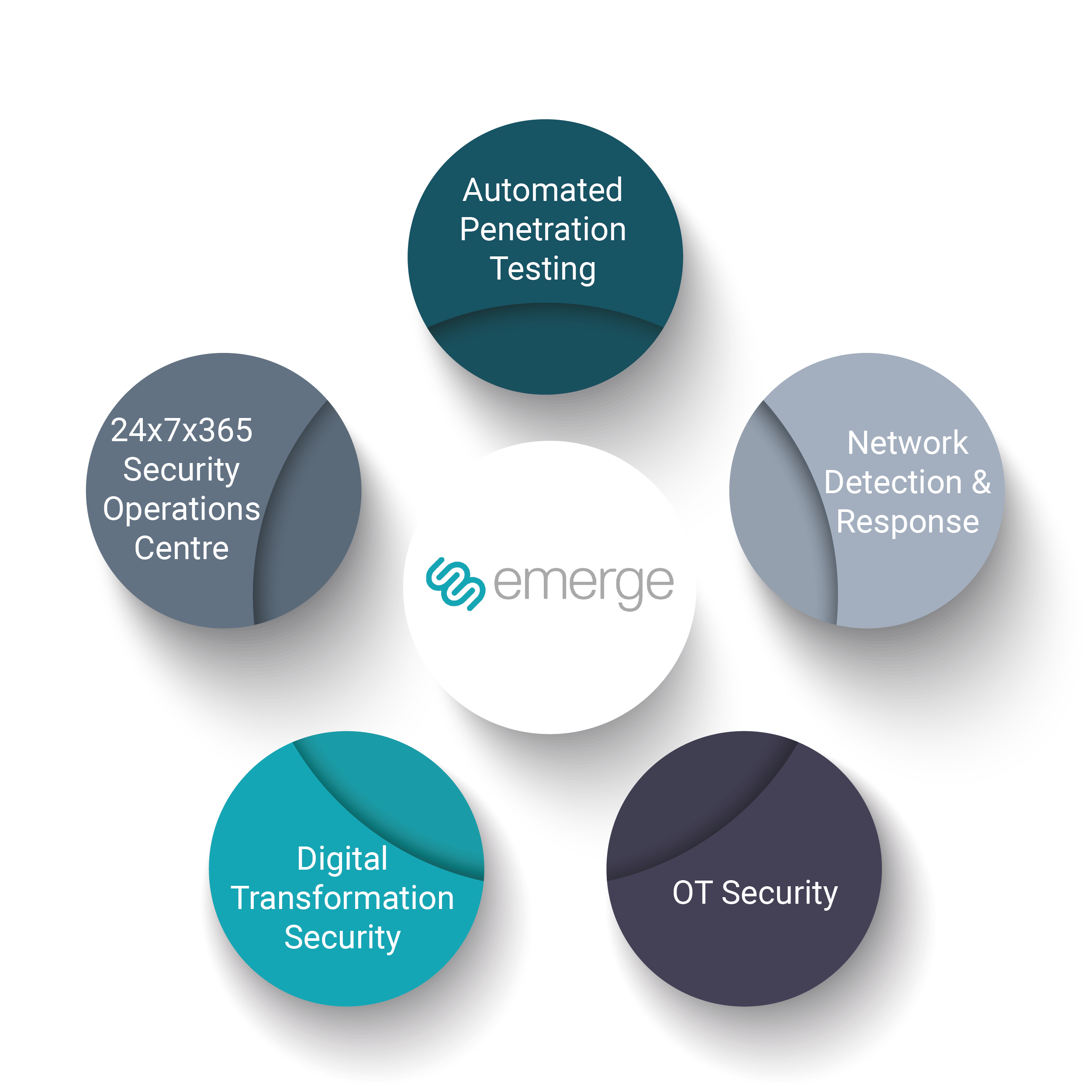 Circle illustrating Emerge Cybersecurity solutions